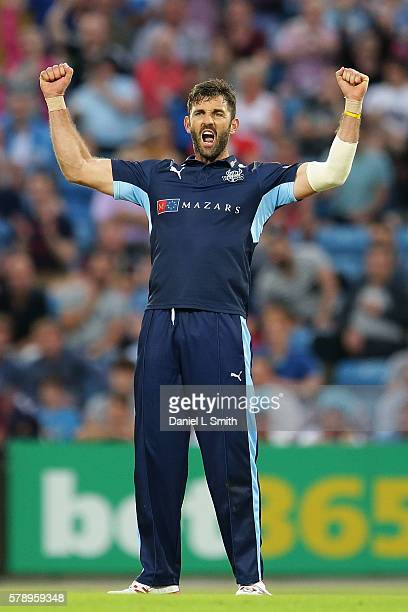 Liam Plunkett of Yorkshire celebrates the dismissal of Adam Rossington of Northampton during the NatWest T20 Blast match between Yorkshire Vikings...