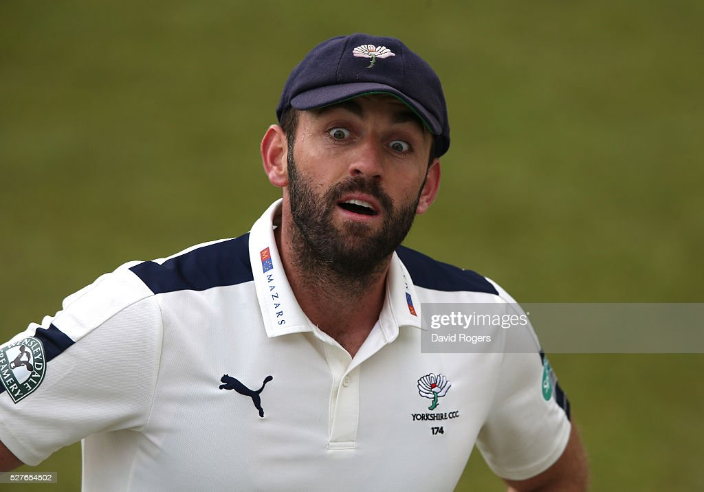 <a gi-track='captionPersonalityLinkClicked' href=/galleries/search?phrase=Liam+Plunkett&family=editorial&specificpeople=535638 ng-click='$event.stopPropagation()'>Liam Plunkett</a> of Yorkshire looks on during the Specsavers County Championship division one match between Nottinghamshire and Yorkshire at the Trent Bridge on May 3, 2016 in Nottingham, England.