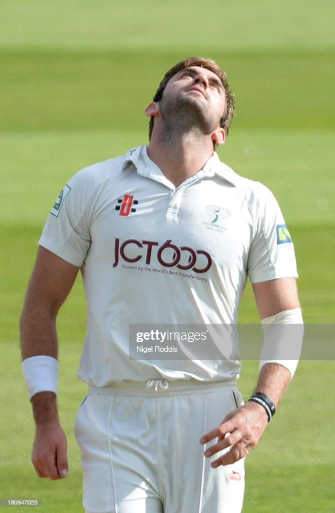 <a gi-track='captionPersonalityLinkClicked' href=/galleries/search?phrase=Liam+Plunkett&family=editorial&specificpeople=535638 ng-click='$event.stopPropagation()'>Liam Plunkett</a> of Yorkshire reacts during day two of the LV County Championship Division One match between Yorkshire and Middlesex at Headingley Stadium on September 18, 2013 in Leeds, England.