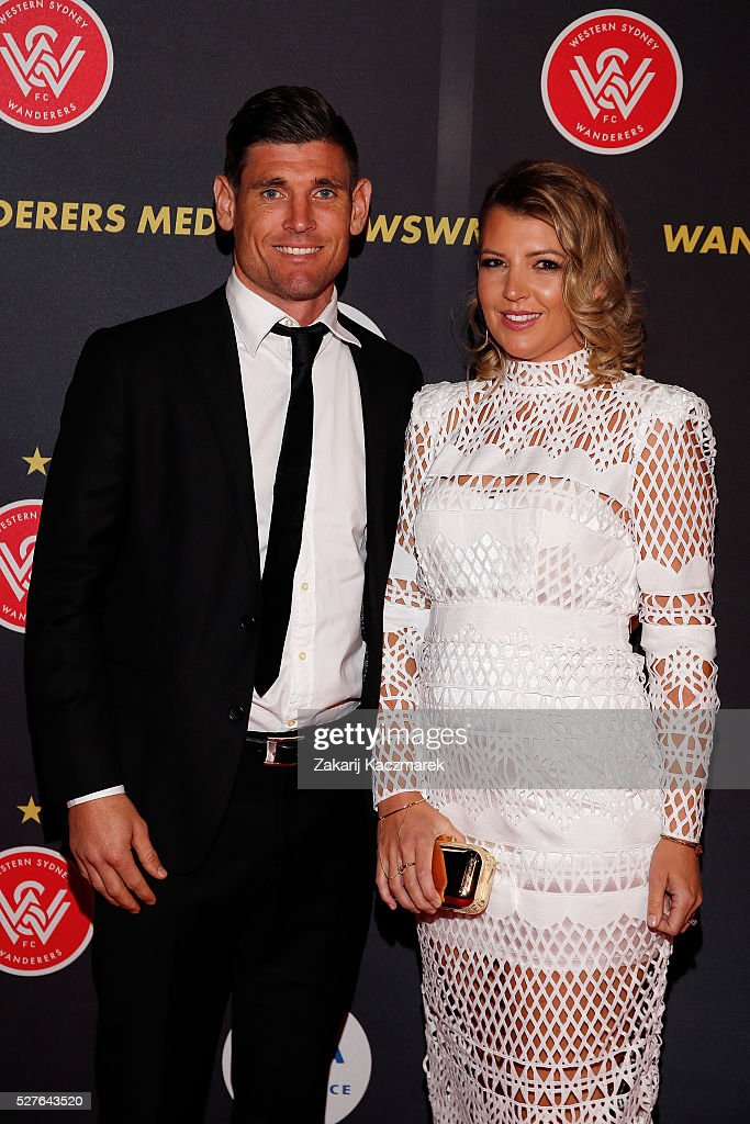 Liam Reddy and Christie Reddy arrive during the 2016 Western Sydney Wanderers Awards at Qudos Bank Arena on May 3, 2016 in Sydney, Australia.