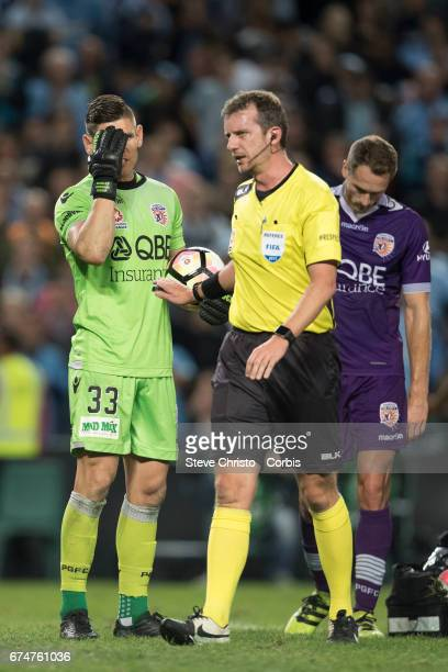 Liam Reddy of Perth Glory gestures to Jordy Buijs of Sydney FC after the two clashed during the ALeague Semi Final match between Sydney FC and the...