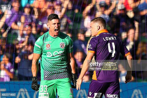 Liam Reddy of the Glory celebrates after saving a penalty shot by Besart Berisha of the Victory during the round 16 ALeague match between Perth Glory...
