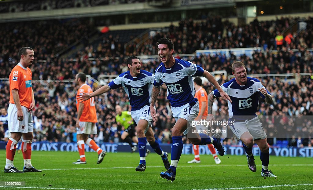 Liam Ridgewell of Birmingham City celebrates his first half goal during the Barclays Premier League match between Birmingham City and Blackpool at St...