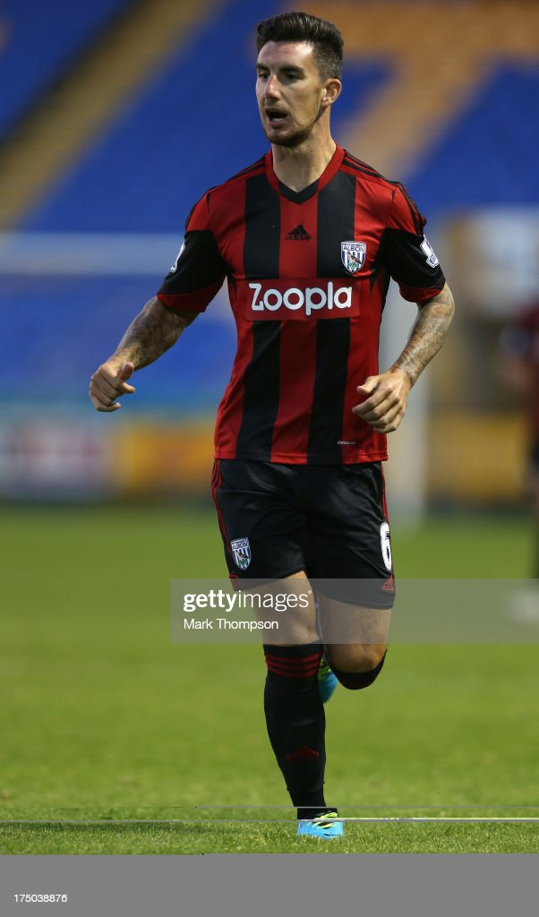 <a gi-track='captionPersonalityLinkClicked' href=/galleries/search?phrase=Liam+Ridgewell&family=editorial&specificpeople=227283 ng-click='$event.stopPropagation()'>Liam Ridgewell</a> of West Bromwich Albion in action during the pre-season friendly between West Bromwich Albion and Atromitosat Greenhous Meadow on July 29, 2013 in Shrewsbury, England.