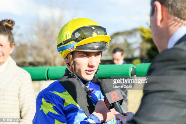 Liam Riordan after winning the Bairnsdale Mazda Maiden Plate at Bairnsdale Racecourse on July 25 2017 in Bairnsdale Australia