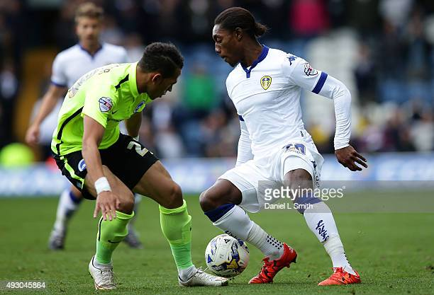 Liam Rosenior of Brighton Hove Albion FC tackles Jordan Botaka of Leeds United FC during the Sky Bet Championship match between Leeds United and...