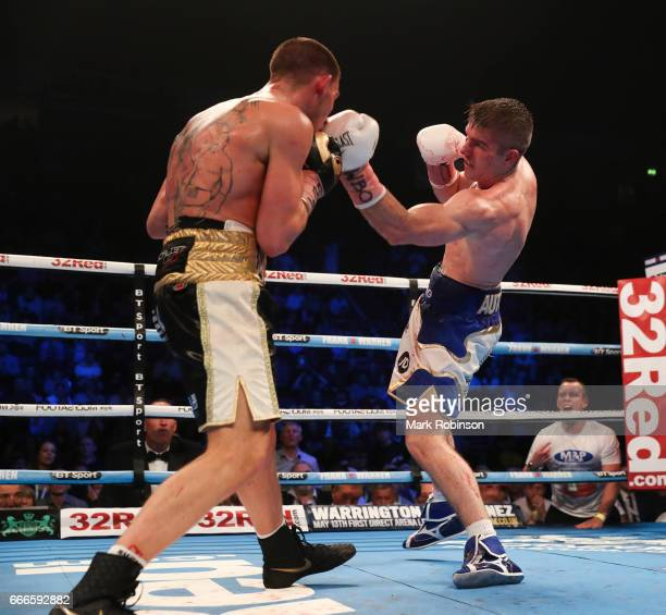 Liam Smith and Liam Williams during their SuperWelterweight bout at Manchester Arena on April 8 2017 in Manchester England