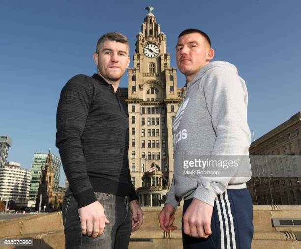 Liam Smith and Liam Williams stand outside the Liver Buildings for a photocall to announce their fight in April on February 13 2017 in Liverpool...