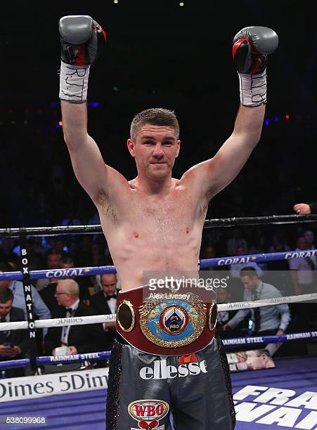 Liam Smith celebrates after victory over Predrag Radosevic in the WBO World SuperWelterweight Championship fight between Liam Smith and Predrag...