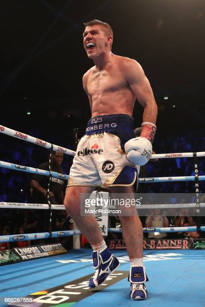 Liam Smith celebrates his 10th round victory over Liam Williams during their WBO Interim World SuperWelterweight fight at Manchester Arena on April 8...