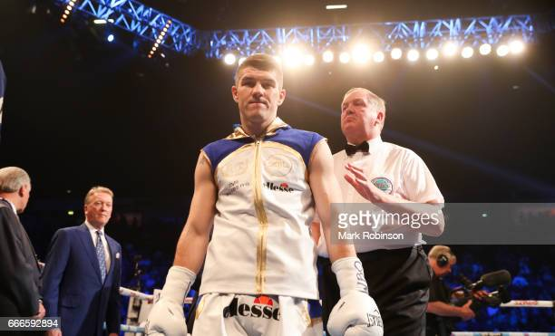 Liam Smith enters the ring before his fight against Liam Williams at Manchester Arena on April 8 2017 in Manchester England