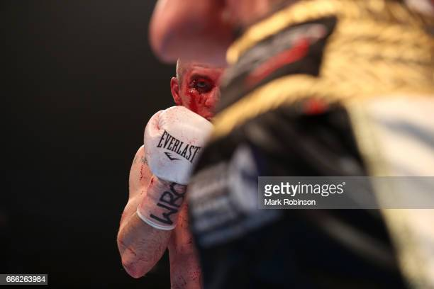 Liam Smith in action during his WBO Interim World SuperWelterweight fight against Liam Williams at Manchester Arena on April 8 2017 in Manchester...