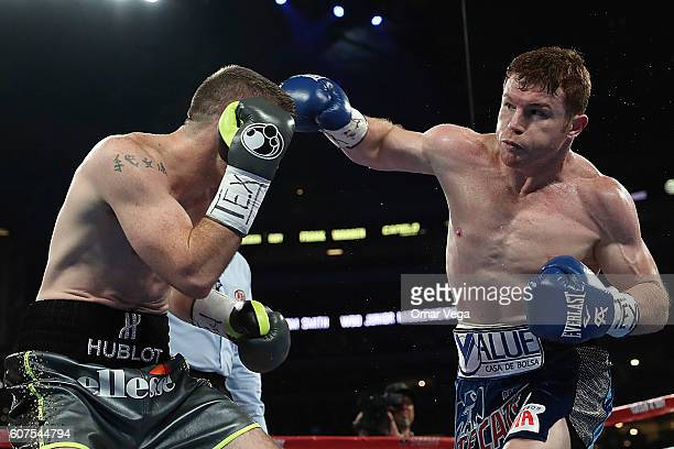 Liam Smith left fights Canelo Alvarez right during the Canelo v Smith WBO Middleweight World Championship Fight at ATT Stadium on September 17 2016...