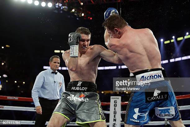 Liam Smith of Great Britain during his WBO Junior Middleweight World fight against Canelo Alvarez of Mexico at ATT Stadium on September 17 2016 in...
