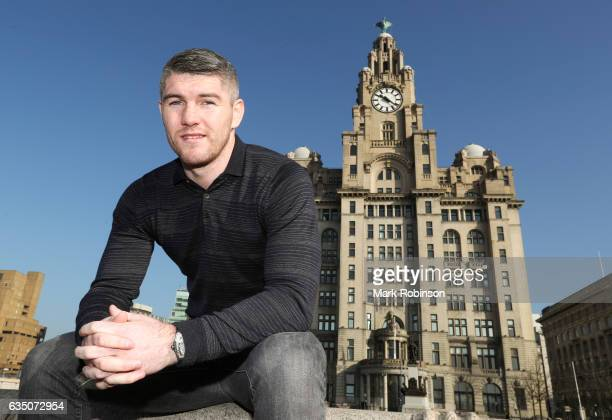 Liam Smith outside the Liver Buildings for a photocall to announce his fight against Liam Williams in April on February 13 2017 in Liverpool England
