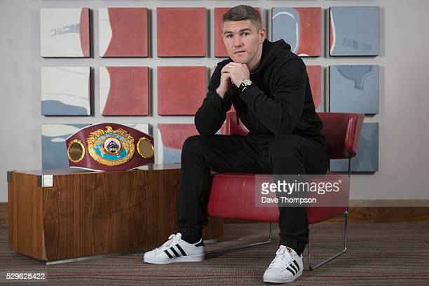 Liam Smith poses for a photograph at the Hilton Hotel in Liverpool on May 9 2016 in Liverpool England Smith will defend his WBO World Super...