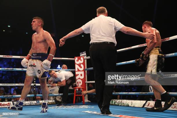 Liam Smith reacts after his 10th round stoppage victory over Liam Williams during their WBO Interim World SuperWelterweight fight at Manchester Arena...