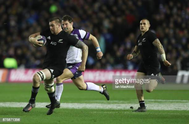 Liam Squire of New Zealand breaks with the ball during the International test match between Scotland and New Zealand at Murrayfield Stadium on...