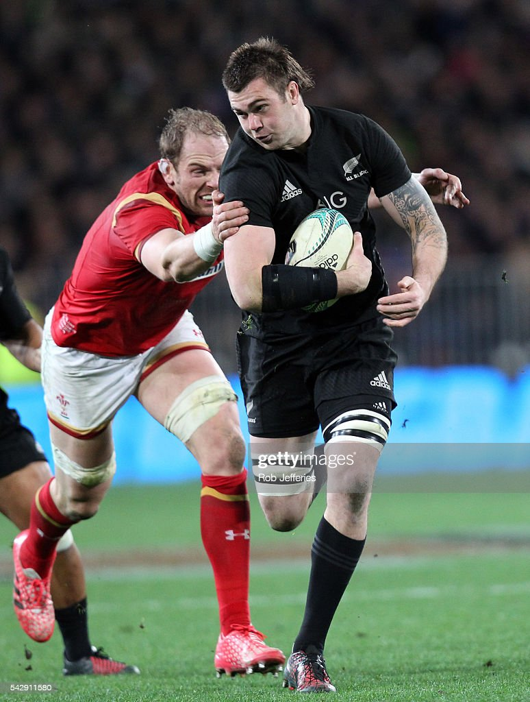 Liam Squire of New Zealand on the attack during the International Test match between the New Zealand All Blacks and Wales at Forsyth Barr Stadium on June 25, 2016 in Dunedin, New Zealand.