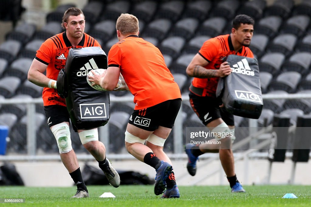 Liam Squire of the All Blacks in action during a New Zealand All Blacks Training Session on August 22, 2017 in Dunedin, New Zealand.