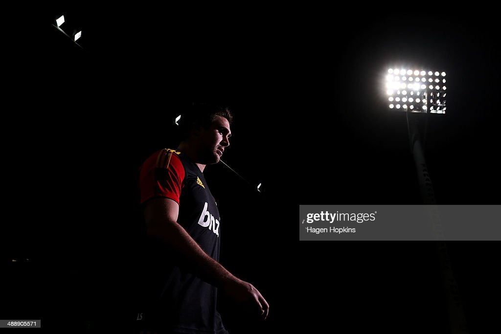 Liam Squire of the Chiefs takes the field to warm up during the round 13 Super Rugby match between the Chiefs and the Blues at Yarrow Stadium on May 9, 2014 in New Plymouth, New Zealand.