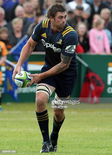 Liam Squire of the Highlanders looks to pass during the Super Rugby trial match between the Highlanders and the Crusaders at Fred Booth Park on...