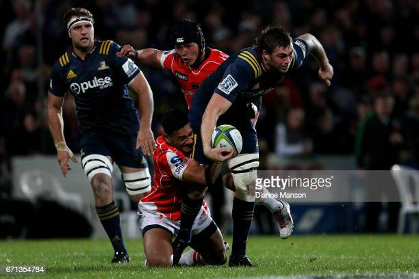 Liam Squire of the Highlanders on the charge during the round nine Super Rugby match between the Highlanders and the Sunwolves at Rugby Park Stadium...