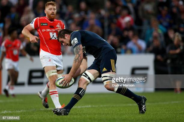 Liam Squire of the Highlanders scores during the round nine Super Rugby match between the Highlanders and the Sunwolves at Rugby Park Stadium on...
