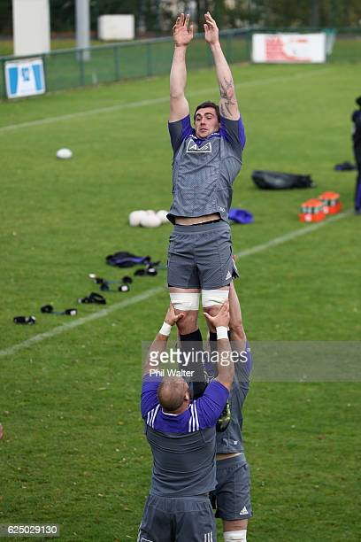Liam Squire of the New Zealand All Blacks practices the lineout at the Suresnes Rugby Club on November 22 2016 in Paris France
