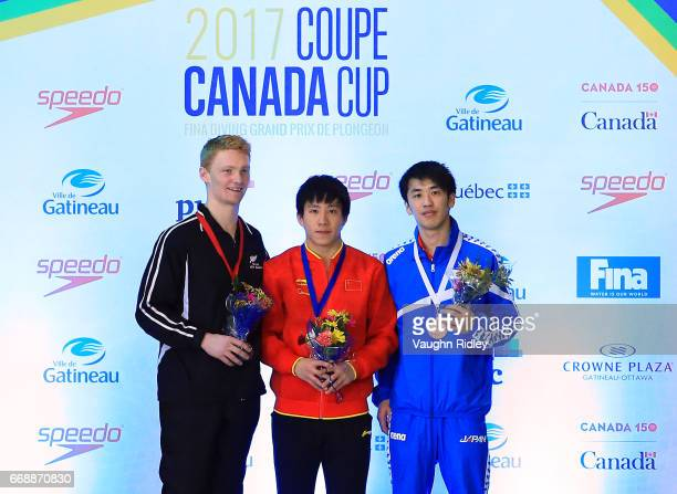 Liam Stone of New Zealand wins Silver Chao He of China wins Gold and Sho Sakai of Japan wins Bronze in the Men's 3m Final during Day Four of the 2017...