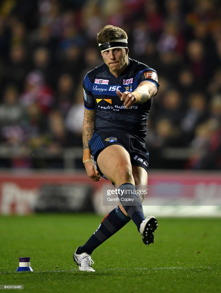 Liam Sutcliffe of Leeds kicks at goal during the Betfred Super League match between Leigh Centurions and Leeds Rhinos at Leigh Sports Village on February 17, 2017 in Leigh, Greater Manchester.