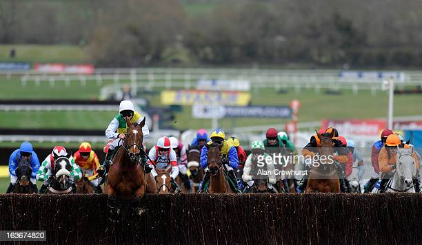 Liam Treadwell riding Carrickboy lead all the way to win The Byrne Group Plate from Vino Griego during St Patrick's Thursday at Cheltenham racecourse...