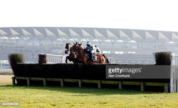 Liam Treadwell riding Tenor Nivernais on their way to winning The Keltbray Swinley Chaseat Ascot Racecourse on February 18 2017 in Ascot England