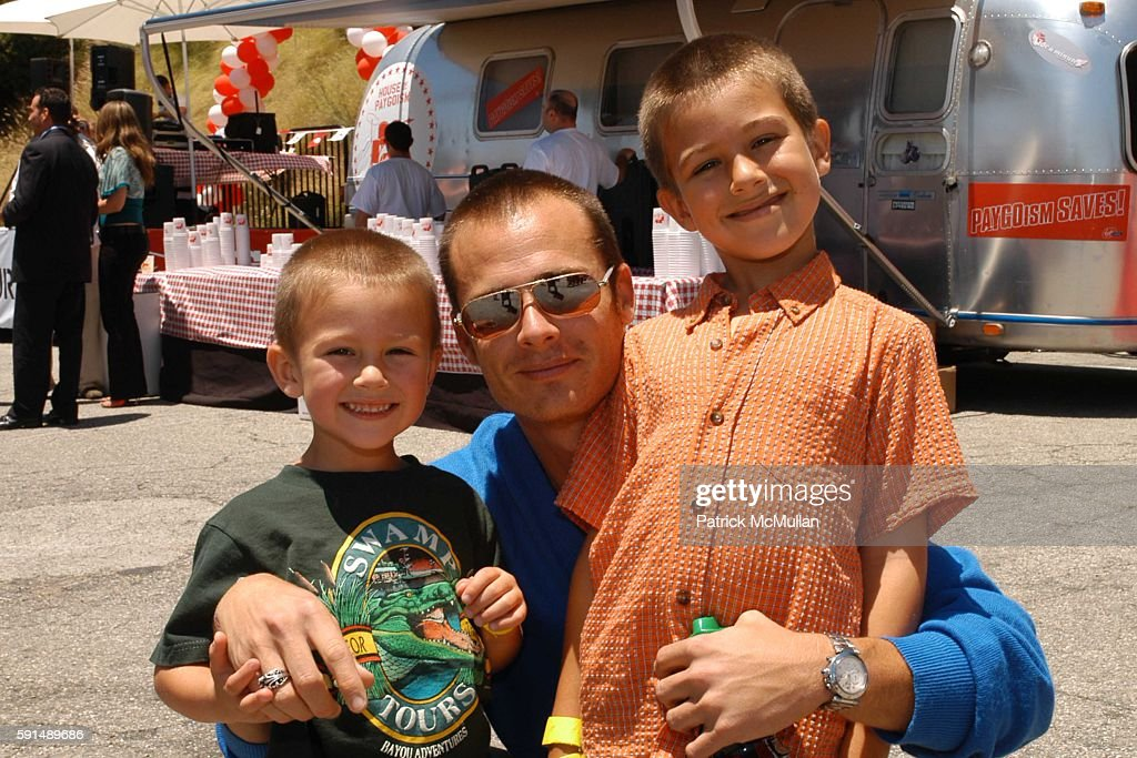 Liam Waite and kids Tritin River and Ashton Scott attend Virgin Mobile BBQ Tour Benefiting the Elton John AIDS Foundation at Sunset Boulevard on June...