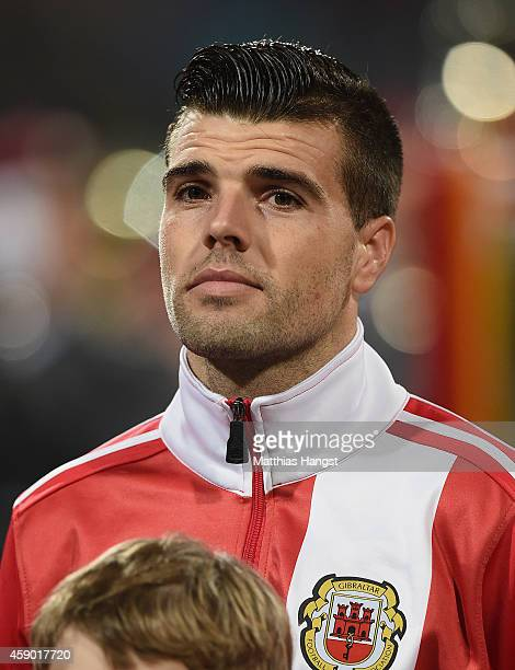 Liam Walker of Gibraltar looks on during the lineup for the EURO 2016 Group D Qualifier match between Germany and Gibraltar at Grundig Stadion on...