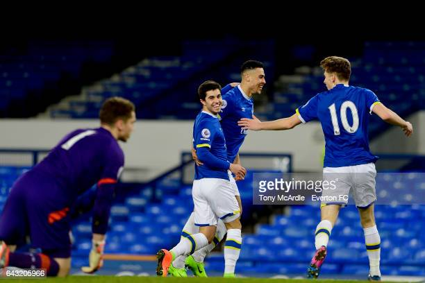 Liam Walsh of Everton celebrates his goal with team mates Courtney Duffus and Joe Williams during the Premier League 2 match between Everton and...