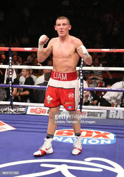 Liam Walsh winner of the Super Featherweight contest fight against Kevin Hooper at the Phones4U Arena Manchester