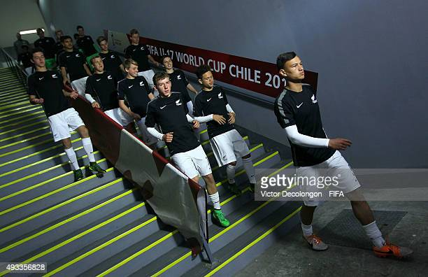 Liam Williams of New Zealand and his teammates make their way to the field for pregame warmup prior to the New Zealand v France Group F FIFA 2015 U17...