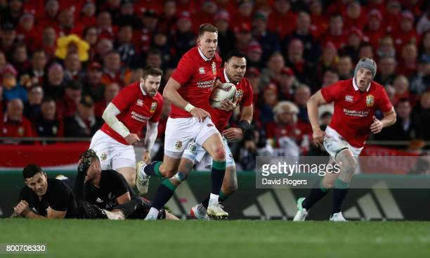 Liam Williams of the Lions breaks clear to set up a try for team mate Sean O'Brien during the Test match between the New Zealand All Blacks and the...