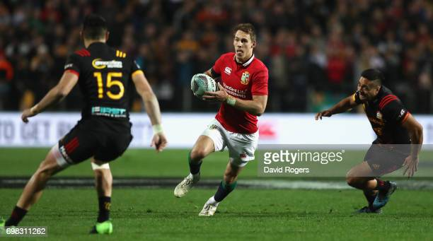 Liam Williams of the Lions breaks with the ball during the match between the Chiefs and the British Irish Lions at Waikato Stadium on June 20 2017 in...