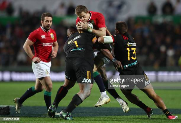 Liam Williams of the Lions is tackled by Siegfried Fisi'ihoi and Tim NanaiWilliams of the Chiefs during the 2017 British Irish Lions tour match...