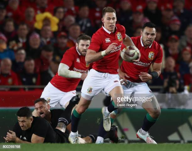 Liam Williams of the Lions makes a break during the first test match between the New Zealand All Blacks and the British Irish Lions at Eden Park on...