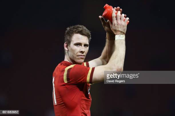Liam Williams of Wales applauds the crowd after the Six Nations match between Wales and Ireland at the Principality Stadium on March 10 2017 in...