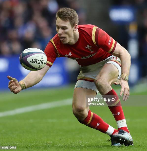 Liam Williams of Wales catches the ball during the RBS Six Nations match between Scotland and Wales at Murrayfield Stadium on February 25 2017 in...