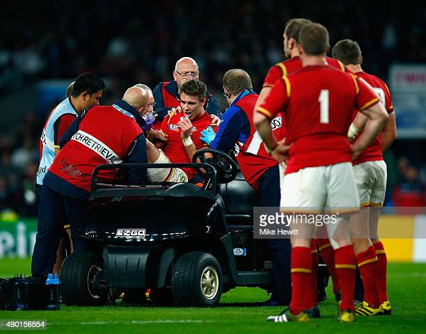 Liam Williams of Wales is stretchered off during the 2015 Rugby World Cup Pool A match between England and Wales at Twickenham Stadium on September...
