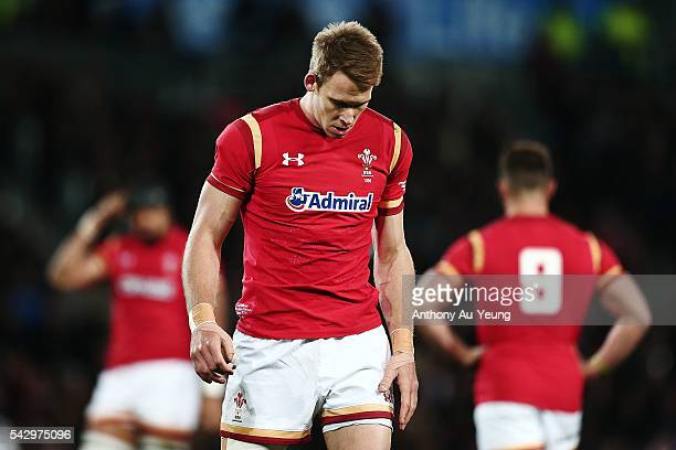 Liam Williams of Wales looks on during the International Test match between the New Zealand All Blacks and Wales at Forsyth Barr Stadium on June 25...