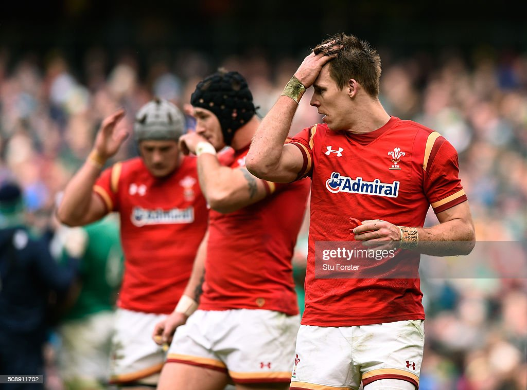 <a gi-track='captionPersonalityLinkClicked' href=/galleries/search?phrase=Liam+Williams&family=editorial&specificpeople=7852399 ng-click='$event.stopPropagation()'>Liam Williams</a> (R) of Wales looks on during the RBS Six Nations match between Ireland and Wales at the Aviva Stadium on February 7, 2016 in Dublin, Ireland.