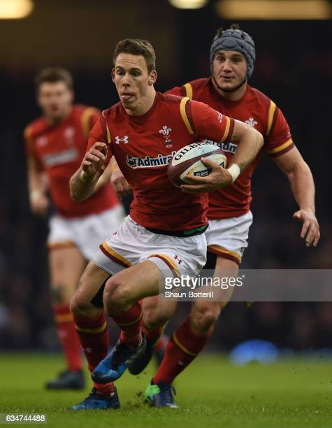 Liam Williams of Wales makes a break during the RBS Six Nations match between Wales and England at the Principality Stadium on February 11 2017 in...