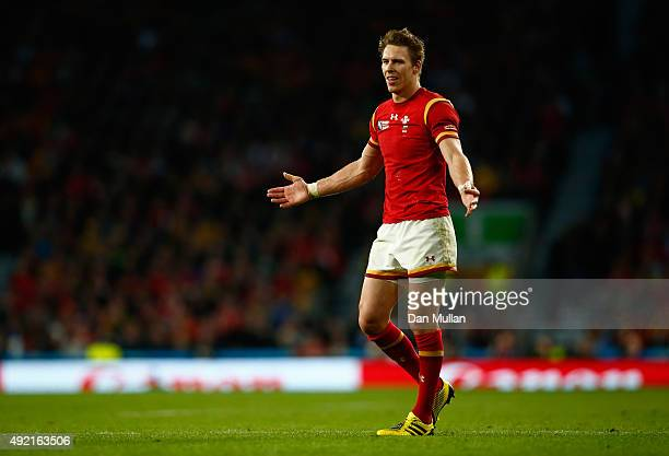Liam Williams of Wales reacts during the 2015 Rugby World Cup Pool A match between Australia and Wales at Twickenham Stadium on October 10 2015 in...