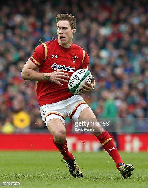 Liam Williams of Wales runs with the ball during the RBS Six Nations match between Ireland and Wales at the Aviva Stadium on February 7 2016 in...
